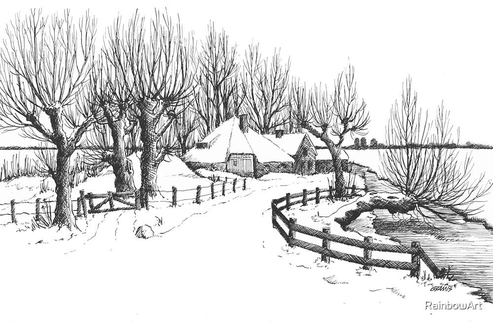 Quot Winter In Holland Pen Drawing Quot By Rainbowart Redbubble