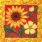 Flowertime With A Sunflower - Gouache by RainbowArt