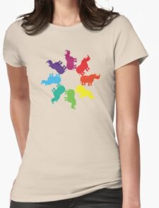 Color: Black Rhino Rainbow Pinwheel Womens Fitted T-Shirt