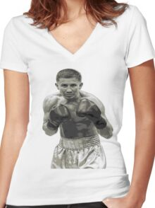 GGG Gennady Golovkin Black and white Boxing Women's Fitted V-Neck T-Shirt