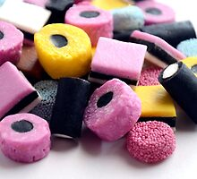 Old Fashioned Retro Sweet Shop Pile of Colourful Liquorice Sweets by HotHibiscus