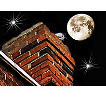 Bird on chimney and full moon layered Photographic Print