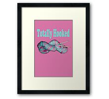 Totally hooked blue text on pink Framed Print