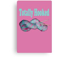 Totally hooked blue text on pink Canvas Print