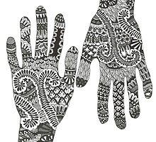 Ink hand (henna design) by Ibubblesart
