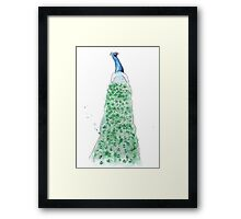 'Feathers of a Peacock' Watercolour Illustration Framed Print