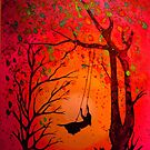 Woman on a swing at sunset by WienArtist