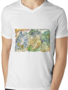 Abstract Watercolor Mountains in Green, Blue, Orange Mens V-Neck T-Shirt