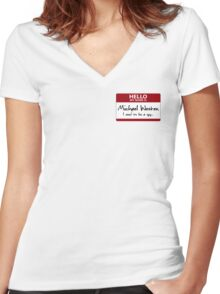 "Nametag Parody: Burn Notice - ""My Name Is Michael Westen"" Women's Fitted V-Neck T-Shirt"