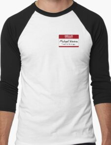 "Nametag Parody: Burn Notice - ""My Name Is Michael Westen"" Men's Baseball ¾ T-Shirt"