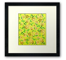 Vintage Yellow Roses on Neon Yellow Background Framed Print