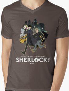 Sherlock NYC -  SCREENING - Day (White Logo)  Mens V-Neck T-Shirt
