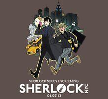 Sherlock NYC -  SCREENING - Day (White Logo)  Unisex T-Shirt
