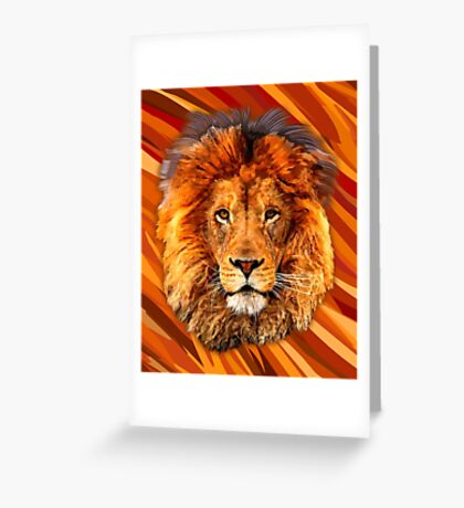 Old Lion Digital art Painting Greeting Card