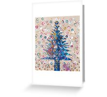 Blue Christmas Tree mixed media Greeting Card