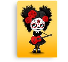 Red Sugar Skull Big Eyed Girl Playing the Guitar Canvas Print