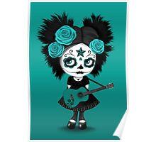 Teal Blue Sugar Skull Big Eyed Girl Playing the Guitar Poster
