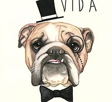 Livin' La Vida Bulldog - English Bulldog by PaperTigressArt