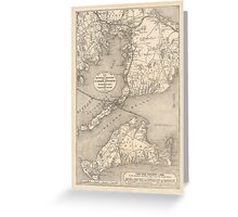 Vintage Cape Cod Old Colony Line Map (1888) Greeting Card