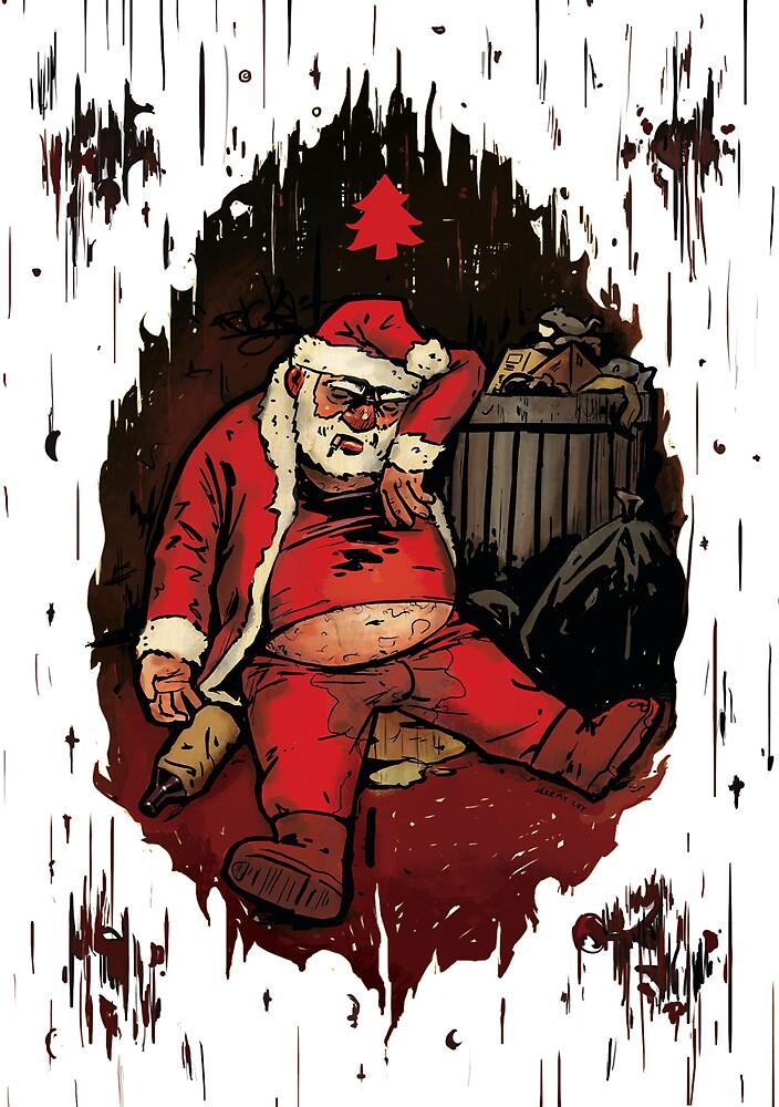 Drunk Santa Funny Christmas Card by Jeremy Ley