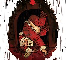 Santa stuck in the Chimney Funny Christmas Card by Jeremy Ley