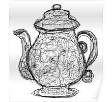 Black and White Teapot Poster