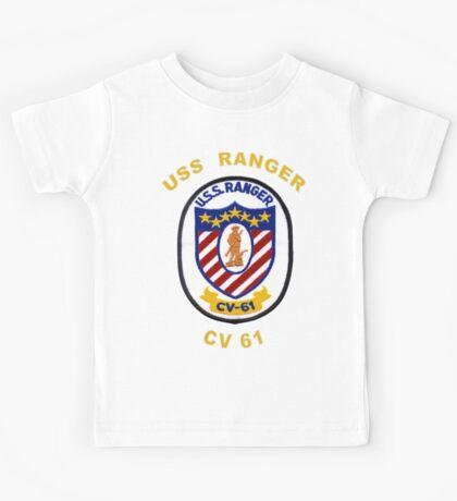 USS Ranger (CV/CVA-61) Crest for Dark Colors Kids Tee