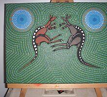 fighting roo,s by Derek Trayner