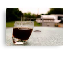 Sipping coffee in the yard  Canvas Print