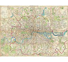 Vintage Map of London England (1899) Photographic Print