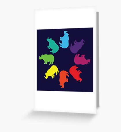 Color: Greater One-Horned Rhino Rainbow Pinwheel Greeting Card