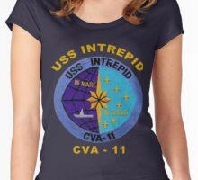 USS Intrepid (CV/CVA/CVS-11) Crest for Dark Backgrounds Women's Fitted Scoop T-Shirt