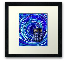 Blue Phone Box with Swirls Framed Print
