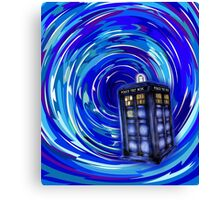 Blue Phone Box with Swirls Canvas Print