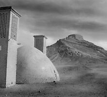 Yazd Towers of Silence - in black & White by Georgina Steytler