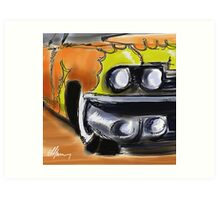 Cadillac With Flames Art Print