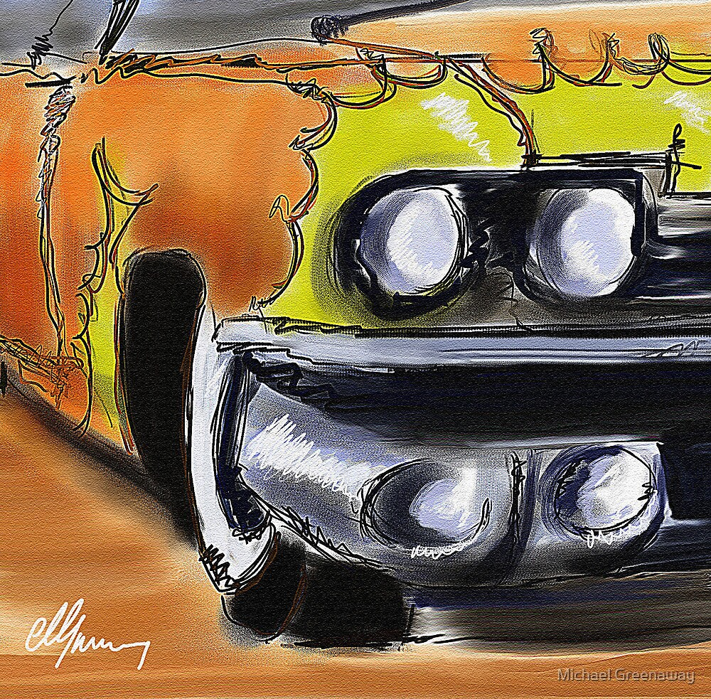 Cadillac With Flames by Michael Greenaway