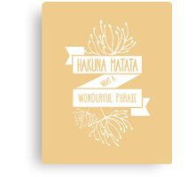 Fun Orange Disney Lion King Ribbon Flower Quote, Hakuna matata, 'No worries for the rest of your days' Canvas Print