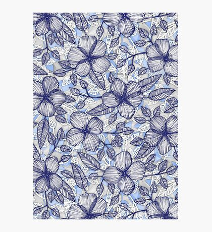 Indigo Summer - a hand drawn floral pattern Photographic Print
