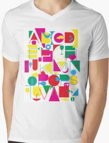 Graphic Alphabet Mens V-Neck T-Shirt