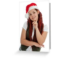 Young modern christmas girl isolated on white background. Greeting Card