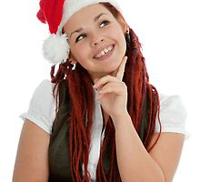 Young modern christmas girl isolated on white background. by fotorobs