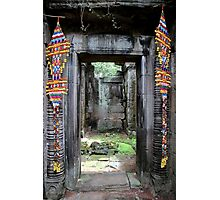 Colorful Door at Banteay Samré - Angkor, Cambodia. Photographic Print