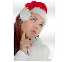 Portrait of young modern christmas girl. Poster