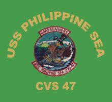 USS Philippine Sea Crest for Dark Colors Kids Tee