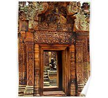 Door of Banteay Srei Temple - Angkor, Cambodia. Poster