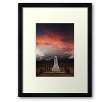Monument at Manzanar cemetery. Framed Print