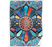 Iridescent Watercolor Brights on Black  Poster