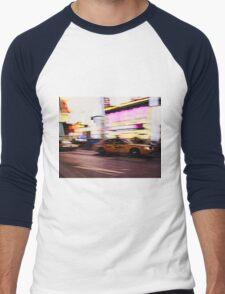 New York City, Taxi at Times Square Men's Baseball ¾ T-Shirt