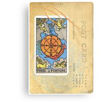 Wheel Of Fortune Blue Tarot Post Card Metal Print